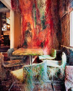 An outstandingly unusual bar; Tetchan Yakitori Bar, Tokyo, Japan designed by Kengo Kuma Kengo Kuma, Odile Decq, Tokyo Restaurant, Wire Cover, Ways To Recycle, Japan Design, New Builds, Tokyo Japan, Contemporary Architecture