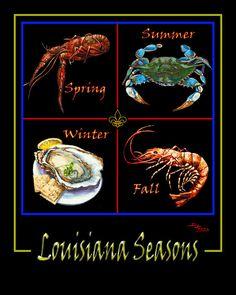 Louisiana Seasons - Premium Eco-Friendly Bamboo Wood Block - Louisiana Four Seasons, Crawfish, Crab, Oyster, Shrimp - and - Fleur de Lis