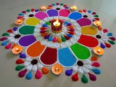 Super Easy and Creative Diya Rangoli Designs.Diwali Special Rangoli Designs by Shital Mahajan. Easy Rangoli Designs Diwali, Diwali Special Rangoli Design, Rangoli Simple, Simple Rangoli Designs Images, Rangoli Designs Latest, Rangoli Designs Flower, Rangoli Border Designs, Latest Rangoli, Colorful Rangoli Designs