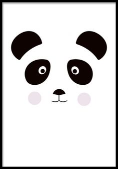 Poster med gullig panda i grafiska stil. Barntavlor med djur.