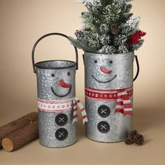 Chic Nesting Galvanized Snowman 2 Piece Metal Bucket Set by The Holiday Aisle storage-sale from top store Fabric Storage Bins, Fabric Bins, Storage Baskets, Gift Baskets, Christmas Ornament Storage, Christmas Crafts, Christmas Decorations, Holiday Decor, Holiday Ideas
