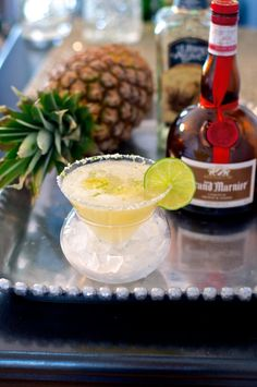 Pineapple infused tequila adds a unique twist to this classic margarita cocktail recipe Refreshing Cocktails, Fun Cocktails, Cocktail Drinks, Fun Drinks, Yummy Drinks, Cocktail Recipes, Beverages, Pineapple Margarita, Margarita Cocktail