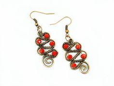 Red earrings red jewelry dangle earrings by MargoHandmadeJewelry