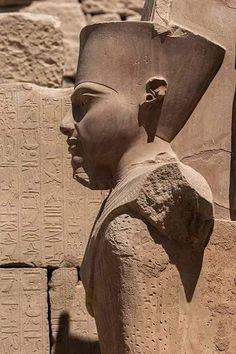 Statue of Tutankhamun in the form of Amun-Ra at Karnak Temple, Luxor