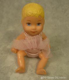 Barbie Happy Family Baby Krissy Blonde Blue Eye Infant Doll. Dressed in  RARE PinkTutu.
