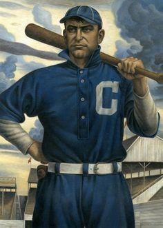 "Baseball Art - Napoleon ""Nap"" Lajoie by Mike Benny, Baseball Painting, Baseball Art, Sports Baseball, Sports Art, Baseball Players, Baseball Stuff, Cleveland Team, Cleveland Baseball, Cleveland Indians"