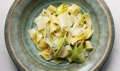 Soft touch: Nigel Slater's pappardelle with leek recipe. Photograph: Jonathan Lovekin for the Observer