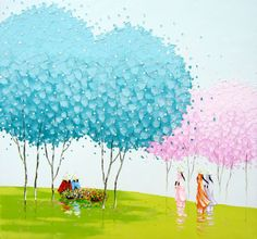 30 Mind-Blowing and Vivid Paintings by Phan Thu Trang - Award winning Landscapes 5 winter painting by phan thu trang Modern Oil Painting, Oil Painting Abstract, Abstract Art, Pinturas Em Tom Pastel, Beautiful Vietnam, Winter Painting, Colorful Paintings, Tree Paintings, Naive Art