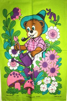 Gardening Time Bear with Flowers Tea Towel  Vintage by FunkyKoala