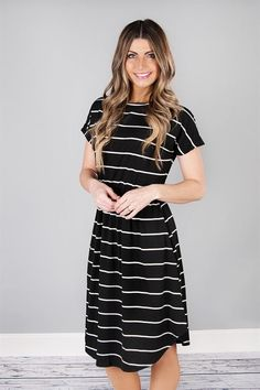 674ac30e4b3 Cinch Waist Striped Midi w/ Pockets | S-XL. Long Casual DressesSimple Dress  CasualCute DressesModest Casual OutfitsCasual ...