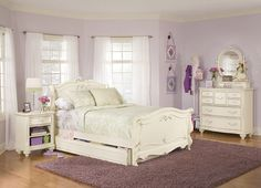 Lea Jessica McLintock Romance Kids Wood Sleigh Bed In Antique White 4 Piece Bedroom  Set     Lowest Price Online On All Lea Jessica McLintock Romance Kids ...