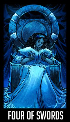 "WTNV Tarot 4 OF SWORDS - Mayor Cardinal ""Tranquility. Introspection. Meditation. Prayer. Resting. Traditionally, solitude, exile, retreat, banishment. When reversed cautiousness"" Dana becoming Mayor of Night Vale leads to a lot of changes and..."