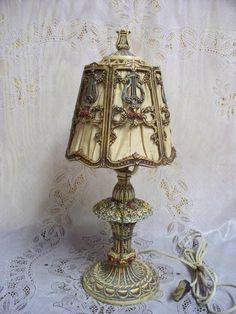 Antique 1920's Iron French Boudoir Lamp Barbola Style Beautiful Original