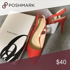 Nine West High Heels..New!! Beautiful red..but a coral/red color!!  Closed toe high heel sling backs..NEW!! Nine West Shoes Heels