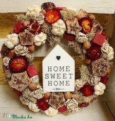 HOME SWEET HOME- őszi kopogtató, ajtódísz, koszorú (Weddingland) - Meska.hu