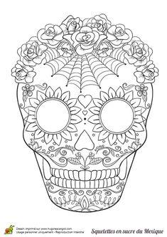 How to draw a skull sugar adult coloring 31 best ideas Skull Coloring Pages, Halloween Coloring Pages, Colouring Pics, Coloring Book Pages, Printable Coloring Pages, Coloring Sheets, Adult Coloring, Sugar Skull Tattoos, Sugar Skull Art