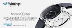Najnovší prírastok - Activité Steel sú elegantné ručičkové hodinky s nerezovej ocele, ktoré majú niečo naviac. Ukrývajú monitor aktivity, ktorý komunikuje s aplikáciou Withings (iOS, Android) prostredníctvom Bluetooth 4.0. Aktuálny pokrok zobrazujú priamo na ciferníku. Ráno Vás zobudia jemnými vibráciami. Sú vodotesné do 50m a batéria vydrží až 8 mesiacov.