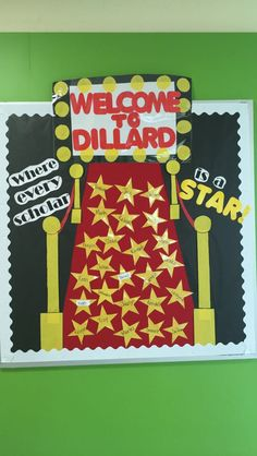 Red carpet themed bulletin board. #bulletin #board #red #carpet #theme #elementary #school #first #grade #scholar #stars #Hollywood #cinema #drama #action #comedy #celebrity #yellow #welcome #back #to #school #movie