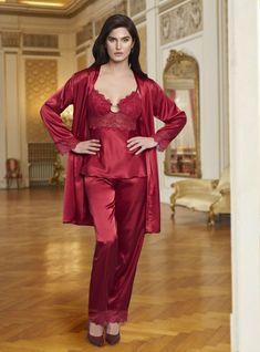 Bordo Renk Saten Üçlü Takım | Pijama.com.tr