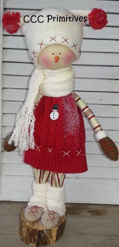 Sally Primitive Snow Girl  Handmade Primitive by CCCPrimitives, $59.00