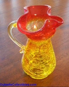 Reverse Amberina Glass Pitcher, Blenko