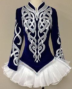 Prime Dress Designs  -- blue, white and silver solo dress
