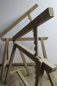 Early Metamorphic Draftsman Sawhorses | From a unique collection of antique and modern industrial and work tables at https://www.1stdibs.com/furniture/tables/industrial-work-tables/