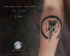 """""""What Goes around, comes Around"""" Thats how an Enso Circle states a single sentence meaning of life! Enjoy the smallest detail of Lord Buddha in the tattoo!! #QualityArt from basics!! Get inked at #aaryanstattoos Creative Tattoos, Meaning Of Life, Piercing, Buddha, Lord, Ink, Detail, Piercings, India Ink"""