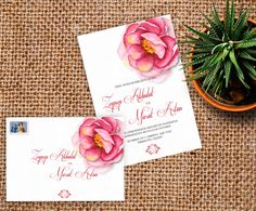 Lovely Pink flower invitation and envelop design ❤ pembe çiçekli romantik davetiye ve zarf tasarımı
