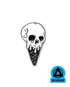 I like my ice cream so hardcore that when I go to eat it my brain freezesto death!! We reissued this pin with artist Josh LaFayette in a colorway to match the mural he created at our New Haven, CT storefront. He painted in this ice cream skull as part of it, and it's pretty rad to see it come to...