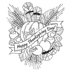 Thanksgiving day drawing to print and color with : feathers, chestnuts, vegetables and fruits, drawin in cartoon style, From the gallery : Events Thanksgiving