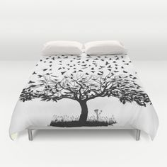 Crows in a tree Duvet Cover by vladimirceresnak Crow, Duvet Covers, Bed, Furniture, Home Decor, Raven, Decoration Home, Stream Bed, Room Decor