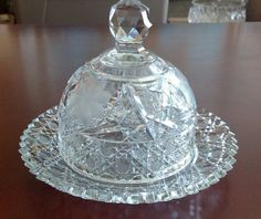 """Vintage+Pressed/Cut+Glass+Round+Covered+Butter+Dish~+Cheese+Server.+8""""+"""