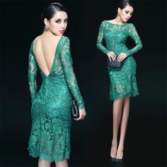 Hot Sexy Lace Backless Open Back Mermaid Prom Evening Dress Women Party Club Clothing Long Sleeve SD270