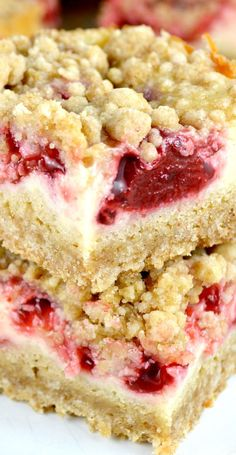 Strawberry Cream Bars are deliciously rich with a brown sugar crust and crumb topping, sweet creamy filling topped with a lovely strawberry layer
