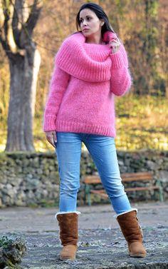 Designer PINK Hand Knitted Mohair Cowl neck Sweater Fuzzy Dress EXTRAVAGANTZA #EXTRAVAGANTZA #Turtleneck