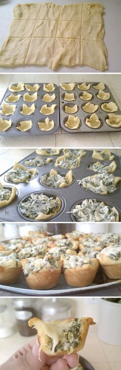 Spinach Artichoke Bites.  8-oz cream cheese; ½ c mayo; ½ c grated Parmesan; 2 cloves garlic, minced; 1 can (14oz) artichoke hearts, drained, chopped; 1C frozen spinach, well-drained; 2 cans crescent rolls; shredded mozzarella. Combine 1st 6 ingred; mix well. Roll out half the dough, pinch seams together. Cut into 12 pieces. Press into mini tin. Fill each w/ dip, then add mozzarella. Bake 12 min. YUM.