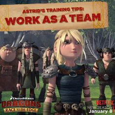 """As tough as Astrid may be, even she can't do it alone. Dragon riders always ride better as a team. Start training because new adventures and battles are coming this January on all-new episodes of """"Dragons: Race to the Edge."""" Tag who'd be on your team of dragon riders!"""