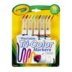 Crayola Washable Tri-Color Markers: every purchase supports charity. Cool School Supplies, Office Supplies, Too Cool For School, Marker Art, Arts And Crafts Supplies, Art Supplies, Colorful Drawings, Copics, Gel Pens