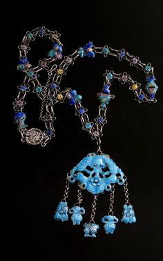 Chinese Antique Silver Enamel Necklace CHINESE ANTIQUES : More At FOSTERGINGER @ Pinterest