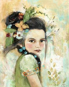 By Claudia Tremblay Art Original, Original Paintings, Claudia Tremblay, Art Fantaisiste, Art Visage, L'art Du Portrait, Illustration Art, Illustrations, Pintura Country