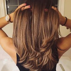 hazel caramel hair color on long hair