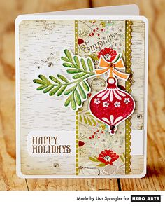 Hero Arts Cardmaking Idea: Aspen Holiday by Lisa Spangler Xmas Cards, Holiday Cards, Christmas Paper Crafts, Christmas Ornament, Christmas Tree, Winter Karten, Beautiful Christmas Cards, Winter Cards, Pretty Cards