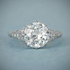 A rare and stunning 3.25ct Old European cut diamond engagement ring, mounted in a beautiful handmade platinum setting.