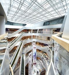 Raffles City Hangzhou,© Hufton + Crow Un Studio, China Architecture, Mixed Use Development, Shopping Malls, Stair Railing, Retail Space, Arch Interior, Retail Interior, Interior Design