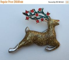 SALE AVON Reindeer Pin Christmas Pin Holiday Pin Glittery Gold Red Rhinestone Antlers