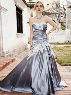 A-line Sweetheart Satin Court Train Appliques Prom Dresses