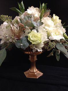 Hydrangea, succulent and lisianthus compote centerpieces