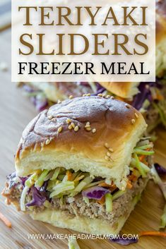 hese Teriyaki Sliders with Broccoli Slaw are the perfect Asian take on a classic slider sandwich! Topped with crunchy broccoli slaw, they are packed with flavor (and extra veggies)! Best of all, you can make these ahead and freeze them – they are totally freezer friendly! Use them for a future meal, work lunches, or weekly meal prep. #freezerfriendly #freezer #freezermeal #makeahead #prepahead #easylunch #easydinner #sliders Best Freezer Meals, Make Ahead Meals, Quick Meals, Freezer Cooking, Broccoli Slaw, Sammy, Meal Prep For The Week, Best Dinner Recipes, Healthy Recipes