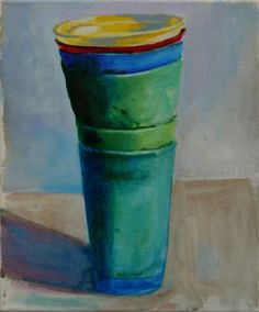 Plastic Beakers #4 oil on canvas 23x30cm